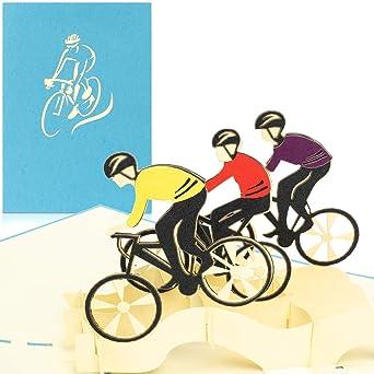 PaperCrush - Tarjeta pop-up con bicicleta de carreras - Tarjeta de cumpleaños 3D como vale o regalo de dinero para bicicleta - Divertido regalo de cumpleaños para ciclistas de carreras, ciclistas: Amazon.es: