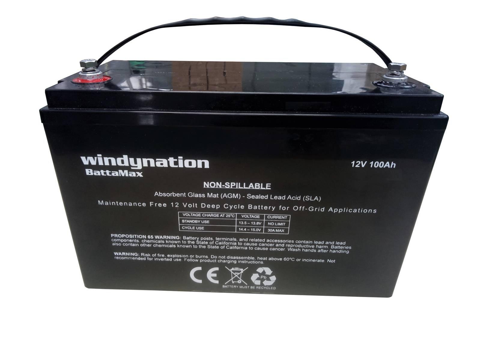 WindyNation 100 amp-hour 100AH 12V 12 Volt AGM Deep Cycle Sealed Lead Acid Battery -- Solar RV UPS Off-Grid (1 pc 100 amp-hour)