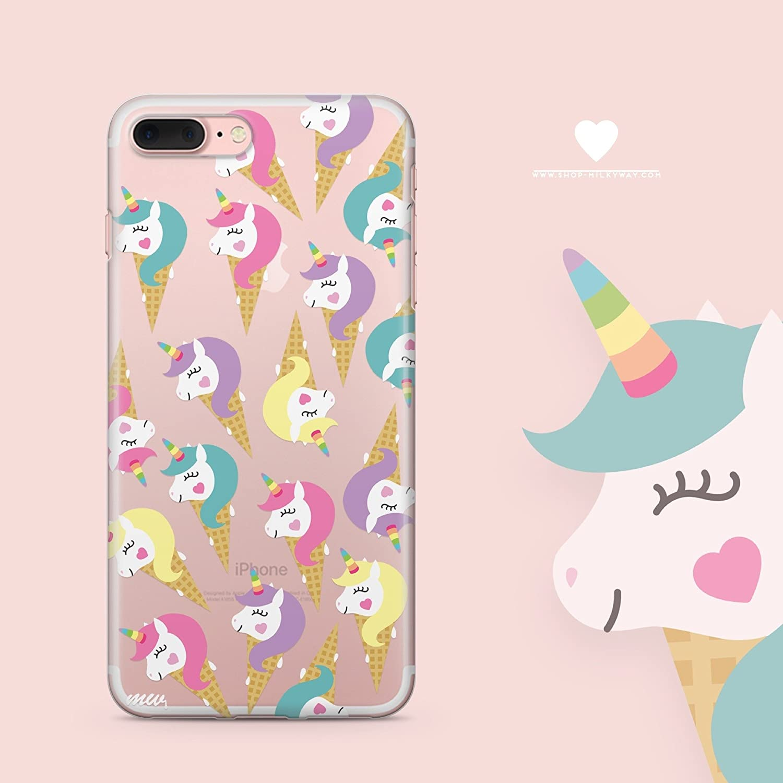 Cute Unicorn iPhone 8 Case Clear - Milkyway