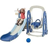 Albott Toddler Slide and Swing Set 4 in 1, Kids Play Climber Slide Playset with Basketball Hoop Extra Long Slide, Easy…