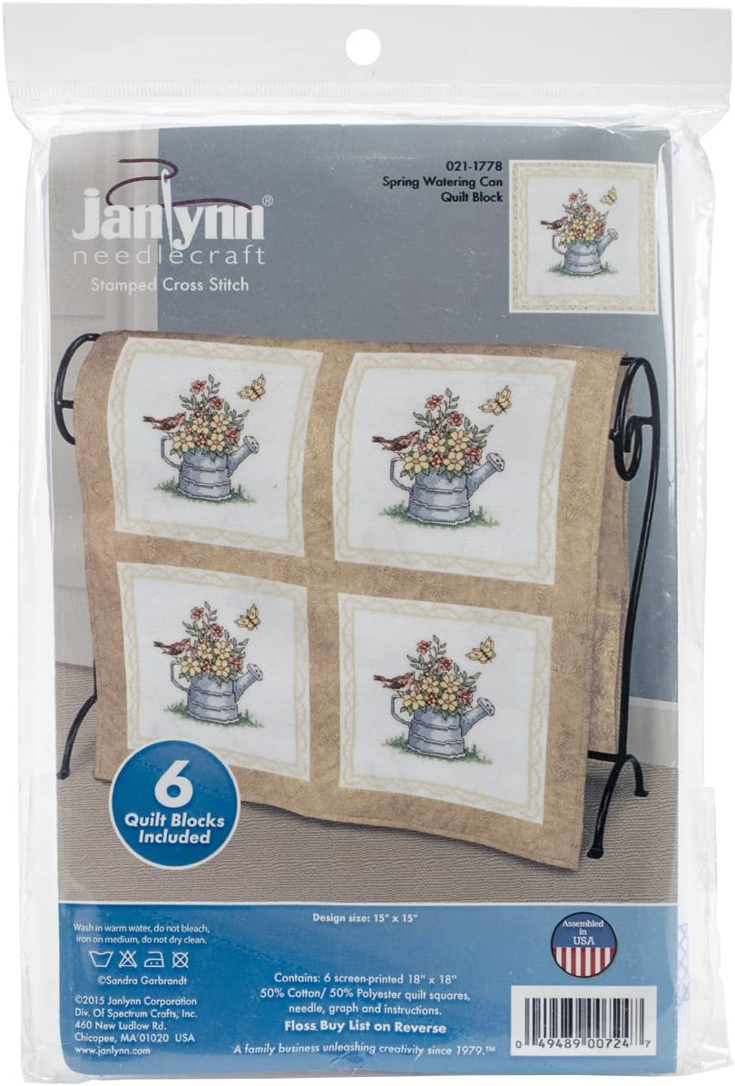 "Janlynn Stamped Cross Stitch Quilt Blocks 18/""x18/"" 6//pkg-heart Filled W//hearts"