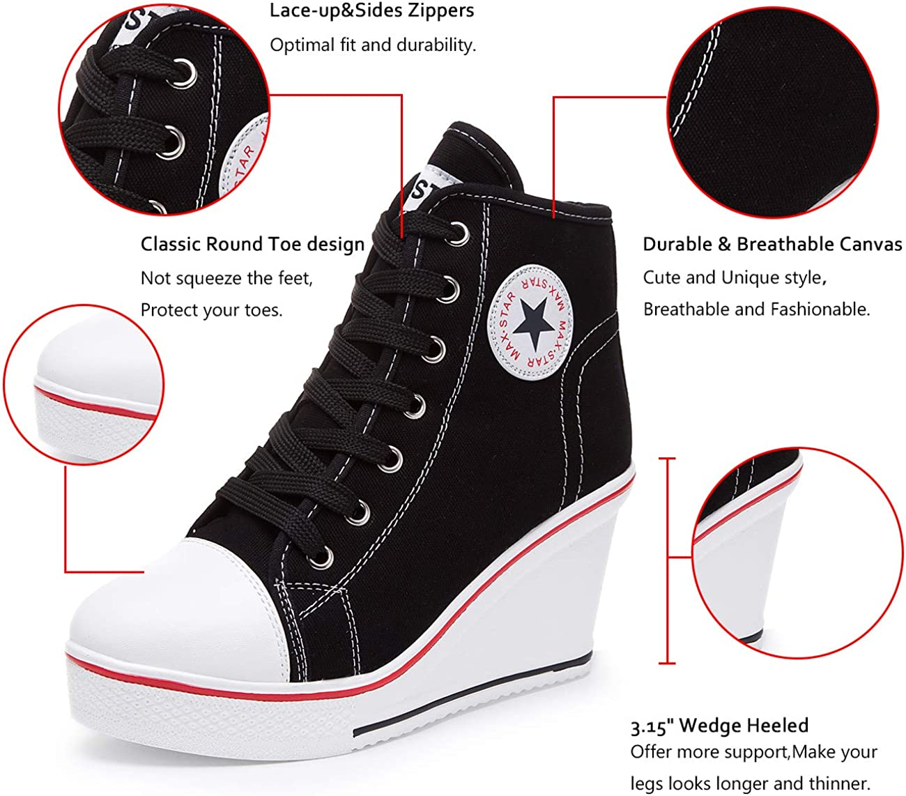 Women Platform Shoes High Sneakers High heel Lace-up Sport White Boots Stylish