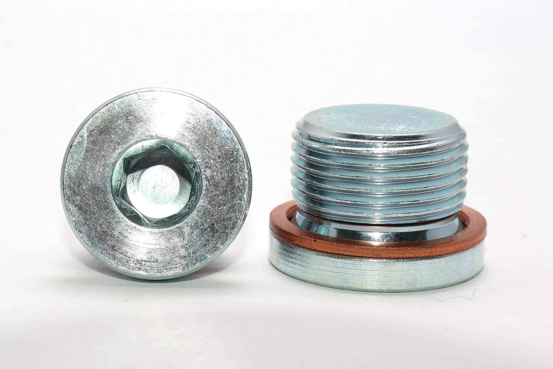 verzinkt Blindstopfen in Verzinktem Stahl 1 St/ück G1 Verschlussschrauben mit Zollgewinde und Kupferdichtung DIN 908 Stahl galv