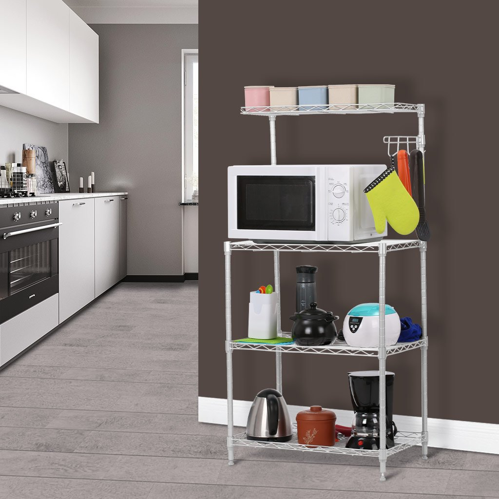 LANGRIA 3 Tier Microwave Stand Storage Rack Kitchen Wire Shelving Microwave Oven Baker/'s Rack with Spice Rack Organizer Silver Grey