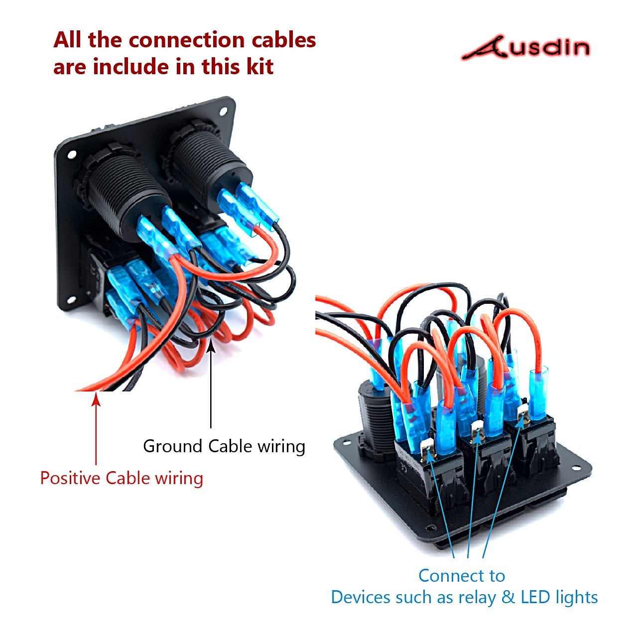 Switch Panel Ausdin Rocker Led Light Bar On Off Wiring Harness With Relay Fuse Ce 3 Gang Wring 14awg 300w 12v Dual Usb