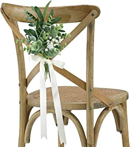 Rinlong Wedding Aisle Decorations Set of 6 Church Chair Bench Pew Bows for Wedding Ceremony Party Decor White Baby's Breath Eucalyptus Olive Leaves Artificial Flowers with Ribbons