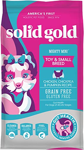 Solid Gold Mighty Mini - Sensitive Stomach - Probiotic Support - Grain-Free - Natural Holistic Dog Food for Toy Small Breeds of All Life Stages