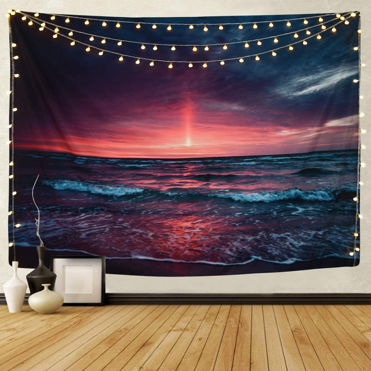 """Martine Mall Tapestry Wall Tapestry Wall Hanging TapestriesHawaiianWave Wall Tapestries, Splendid Sea with Sun Wall Blanket Wall Art for Home Living Room Dorm Decor, 59.1"""" x 51.2"""""""