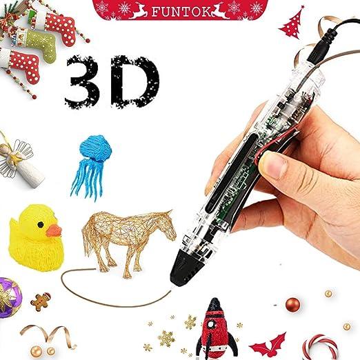 FUNTOK 3D Pluma Inteligente Pen, DIY Print pen Filament el regalo ...