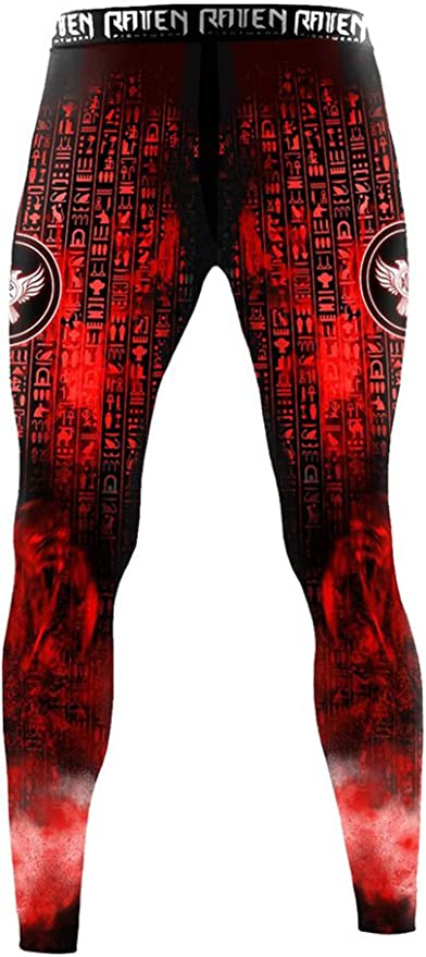 Raven Fightwear Men/'s The Gods of Egypt Ra Leggings Spats MMA BJJ Black