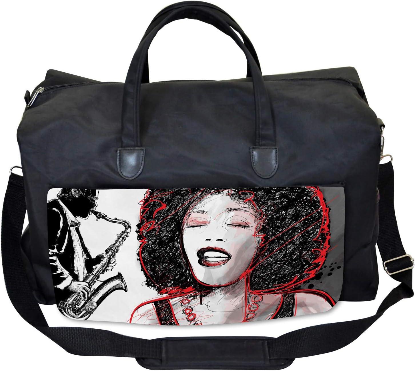 Ambesonne Music Gym Bag Afro American Girl Sings Large Weekender Carry-on