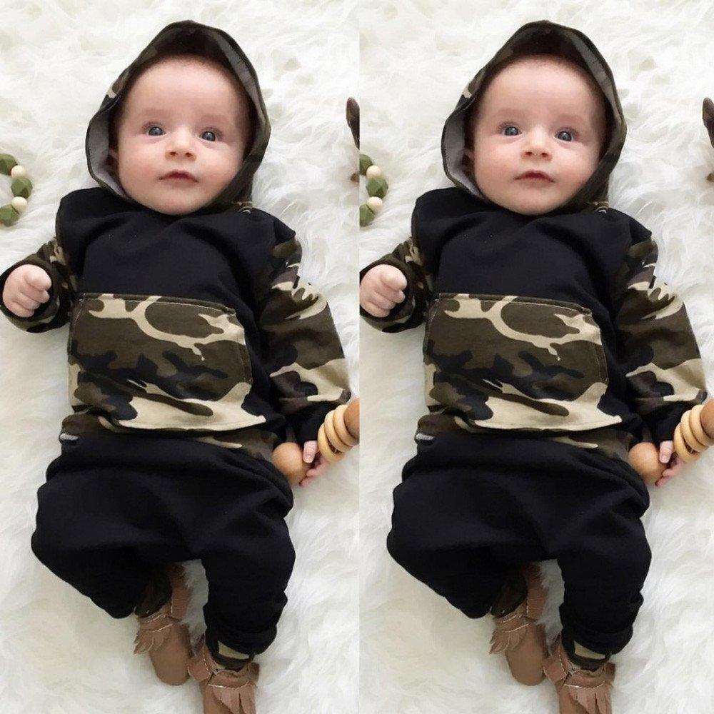 Modaworld _Ropa de bebé, 2pcs niño pequeño bebé Ropa de bebé Conjunto Camuflaje con Capucha Tops + Pantalones Trajes de bebés niñas niños: Amazon.es: Ropa y ...