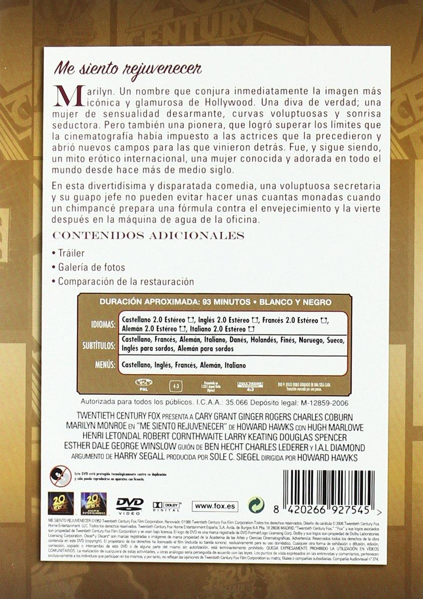 Me siento rejuvenecer [DVD]: Amazon.es: Cary Grant, Ginger Rogers, Charles Coburn, Marilyn Monroe, Howard Hawks: Cine y Series TV