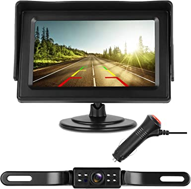 HD 720P Backup Camera and Monitor One Power Kit for Cars,Campers,Trucks Easy Installation Driving Reversing High-Speed Observation Parking Asistance System