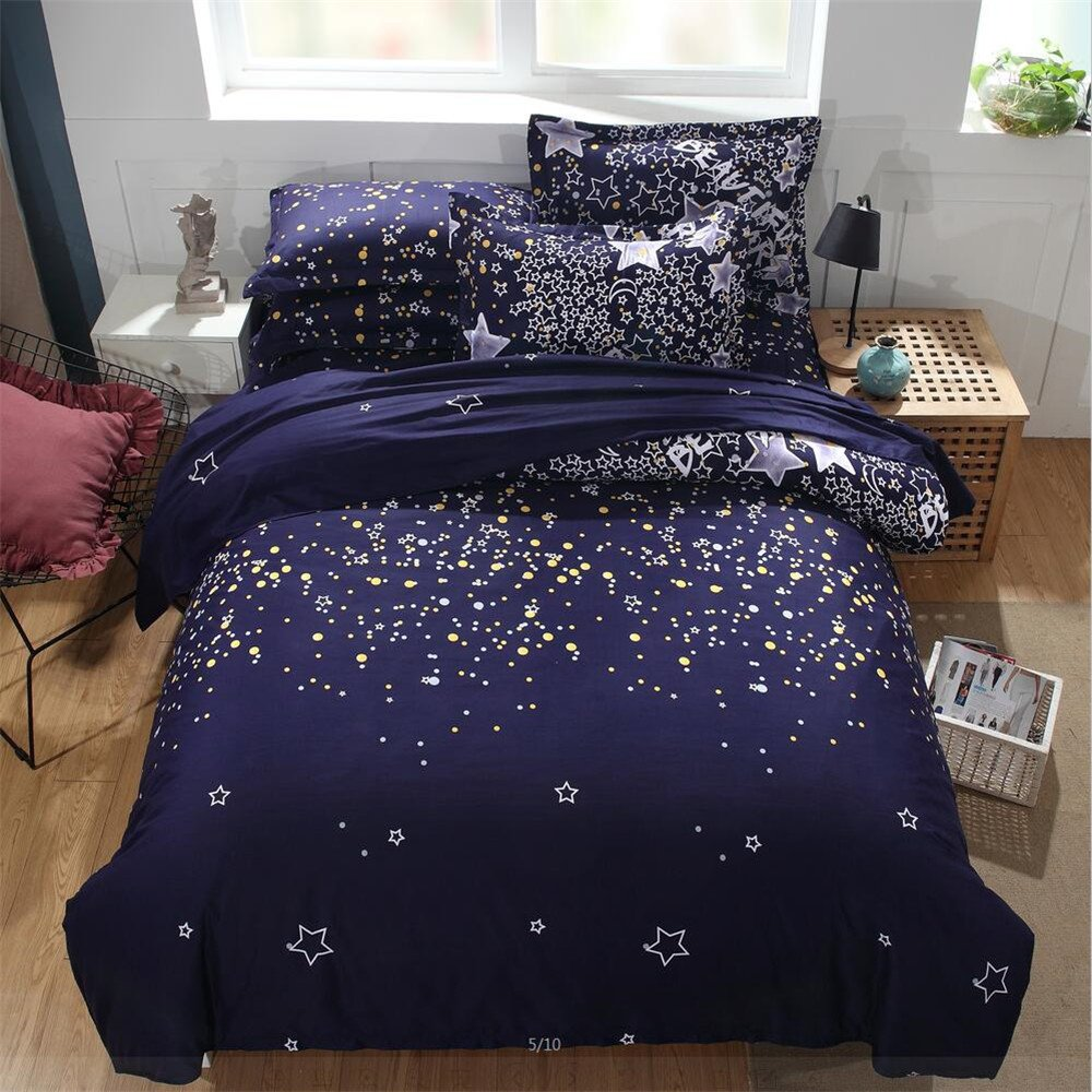 EsyDream Solar System Universe Outer Space Sarts Print Kids Bedding Bedspreads Sets No Comforter,Queen Size 3PC/Set(1 Duvet Cover +2 Pillowcase)