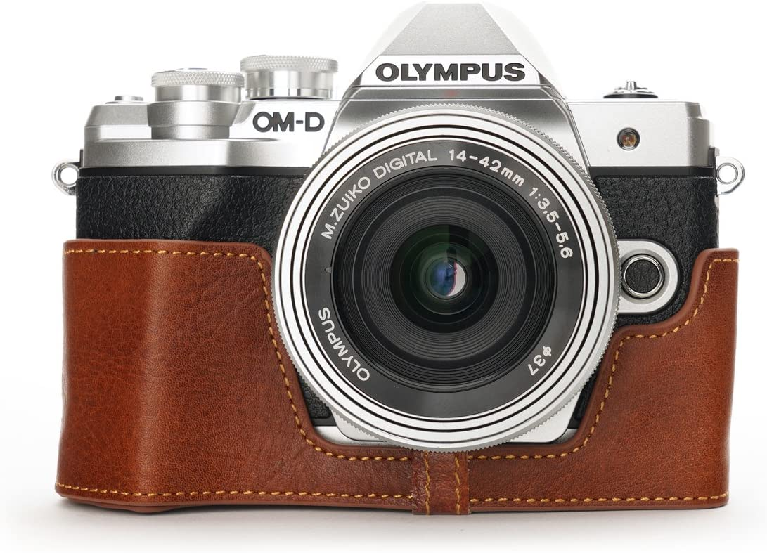 Olympus E-M10 Mark III Case BolinUS Handmade Genuine Real Leather Half Camera Case Bag Cover for Olympus OM-D E-M10 Mark III EM10 MK 3 Camera Bottom Opening Version Green Hand Strap