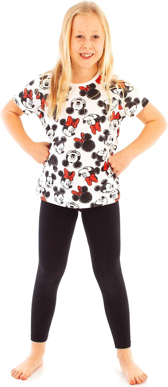 Mickey y Minnie Mouse Lindo Estampado Camiseta de Ni/ñas Negro Blanco Arco Rojo