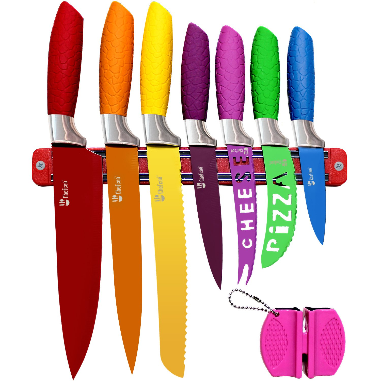Chefcoo Kitchen Knife Set Plus Magnetic Strip and Sharpener One Cutlery Knives-Best Color Cooking Gadgets-Includes Cheese, Pizza, Paring, 14.5 x 10.9 x 1.5 inches Red, Yellow, Blue, Green, Pink