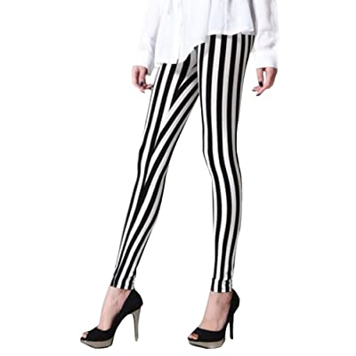 ThunderCloud Women's Stretchy Vertical Back White Striped Ankle Length Legging Pants at Women's Clothing store