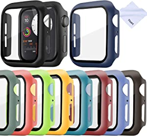 Screen Protector for Apple Watch Series 6/5/4 /SE 44mm Case with Tempered Glass Screen Protector Cover Bumper (10 Pack-44mm )