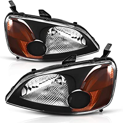 AUTOSAVER88 Headlight Assembly Compatible with 2001 2002 2003 Honda Civic 4-Door Sedan Driver & Passenger Side: Automotive