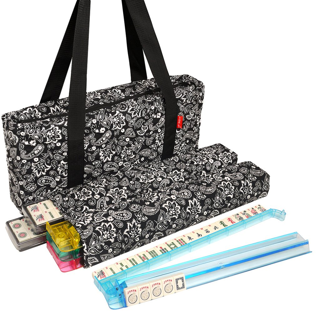 American Mahjong Set by Linda Li - Black Paisley Soft Bag - 166 Ivory Colored Engraved Tiles, 4 All-In-One Rack/Pushers by American-Wholesaler Inc.