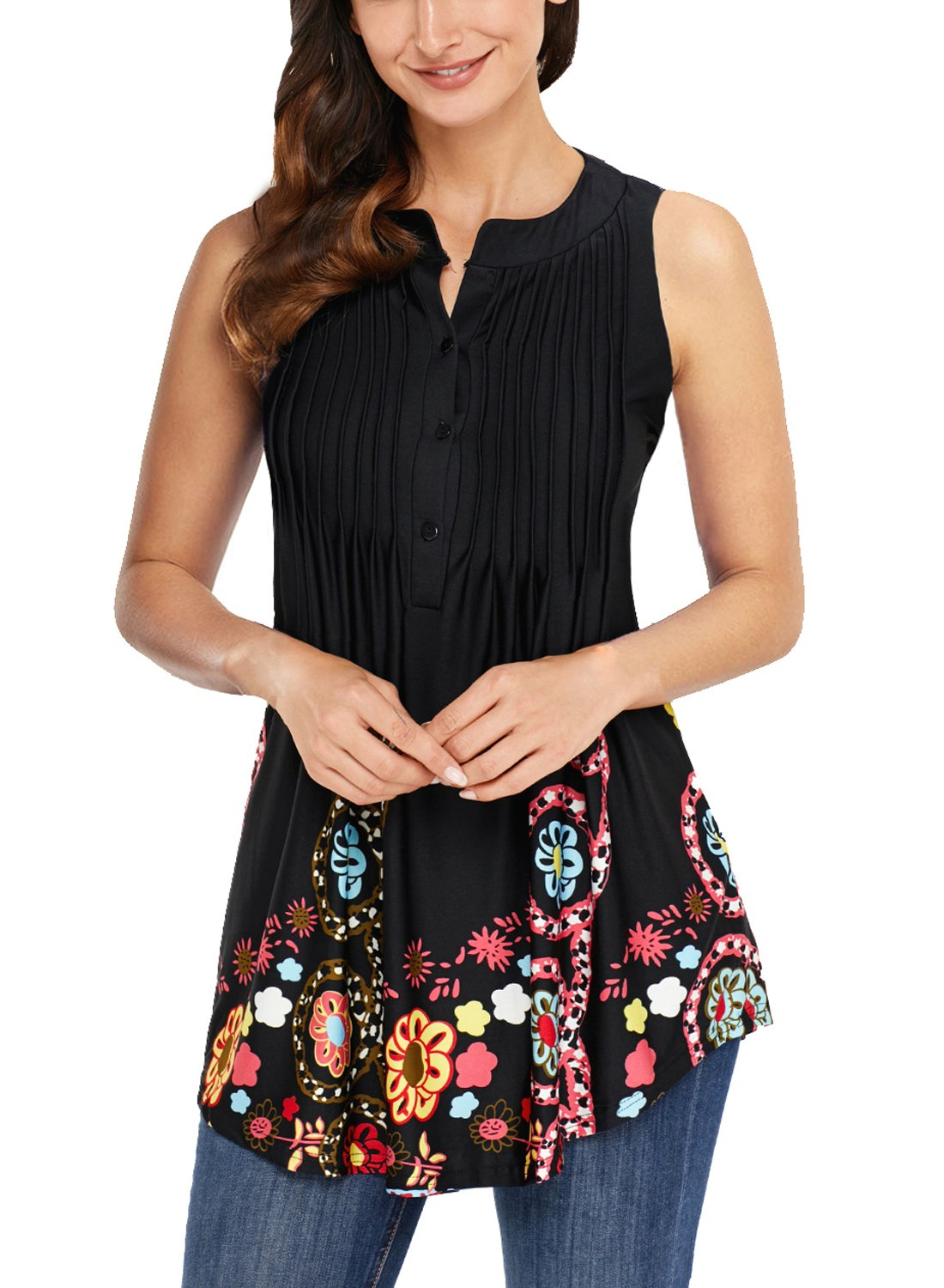 Dokotoo Womens Tanks Tops BlouseFashion Summer Casual Sleeveless Button up Floral Print Swing Flare Tanks Tops and Blouses Shirt Medium