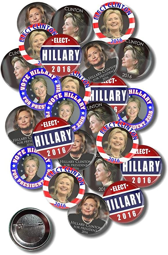 Round Hillary Clinton 2016 Campaign Button Style 4