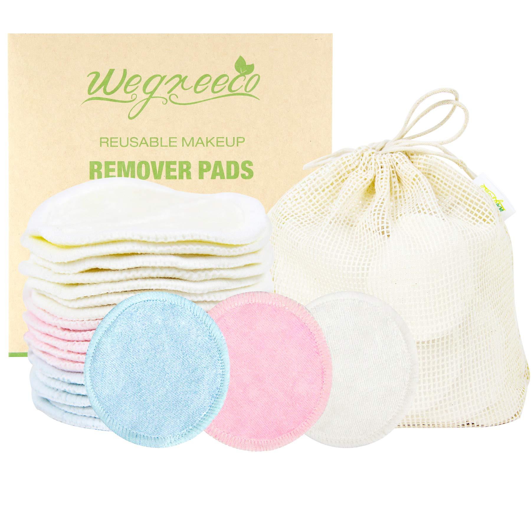 Wegreeco Cotton Rounds Reusable - Reusable Bamboo Makeup Remover Pads for All Skin Types - Bamboo Cotton Cloth for Removing Makeup - Reusable Facial Pads Cotton Rounds (Bamboo Velour, 3 color)