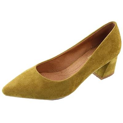 Elegant Footwear Women's Slip On Block Heel Pointed Toe Pump (6 B(M) US, Olive) | Shoes