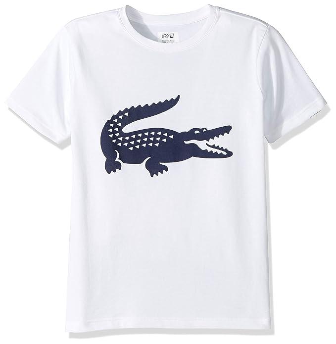 colores y llamativos cómo hacer pedidos diseño distintivo Lacoste Boy Sport Croc Graphic - Playera, White/Navy Blue, 4 ...