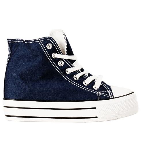 Sneakers Scarpe Donna Toocool Sport Lacci Alte Tela Ginnastica TFKc5Jul31