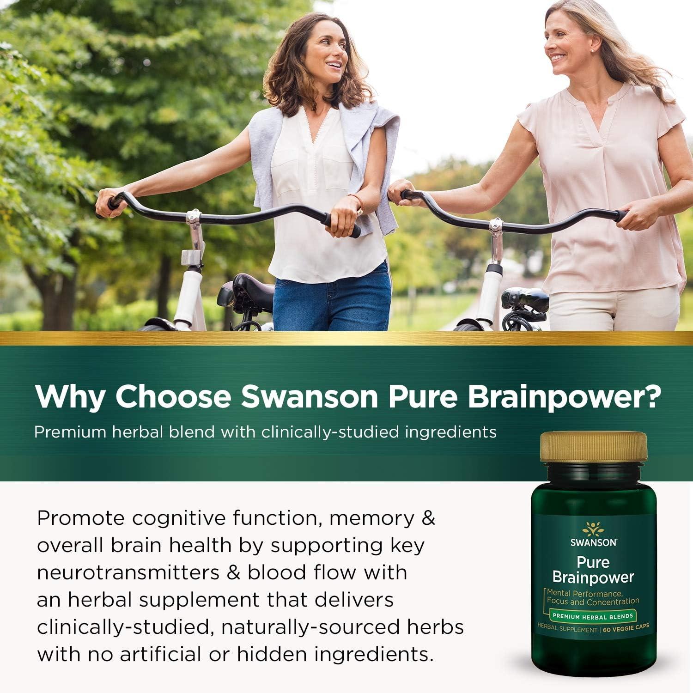 Swanson Pure Brainpower Brain Health Cognitive Memory Focus Support Brain-Derived Neurotrophic Factor (BDNF) Herbal Supplement (Ginkgo Biloba, Bacopa Monnieri) 60 Veggie Capsules (Veg Caps) Vegan: Health & Personal Care