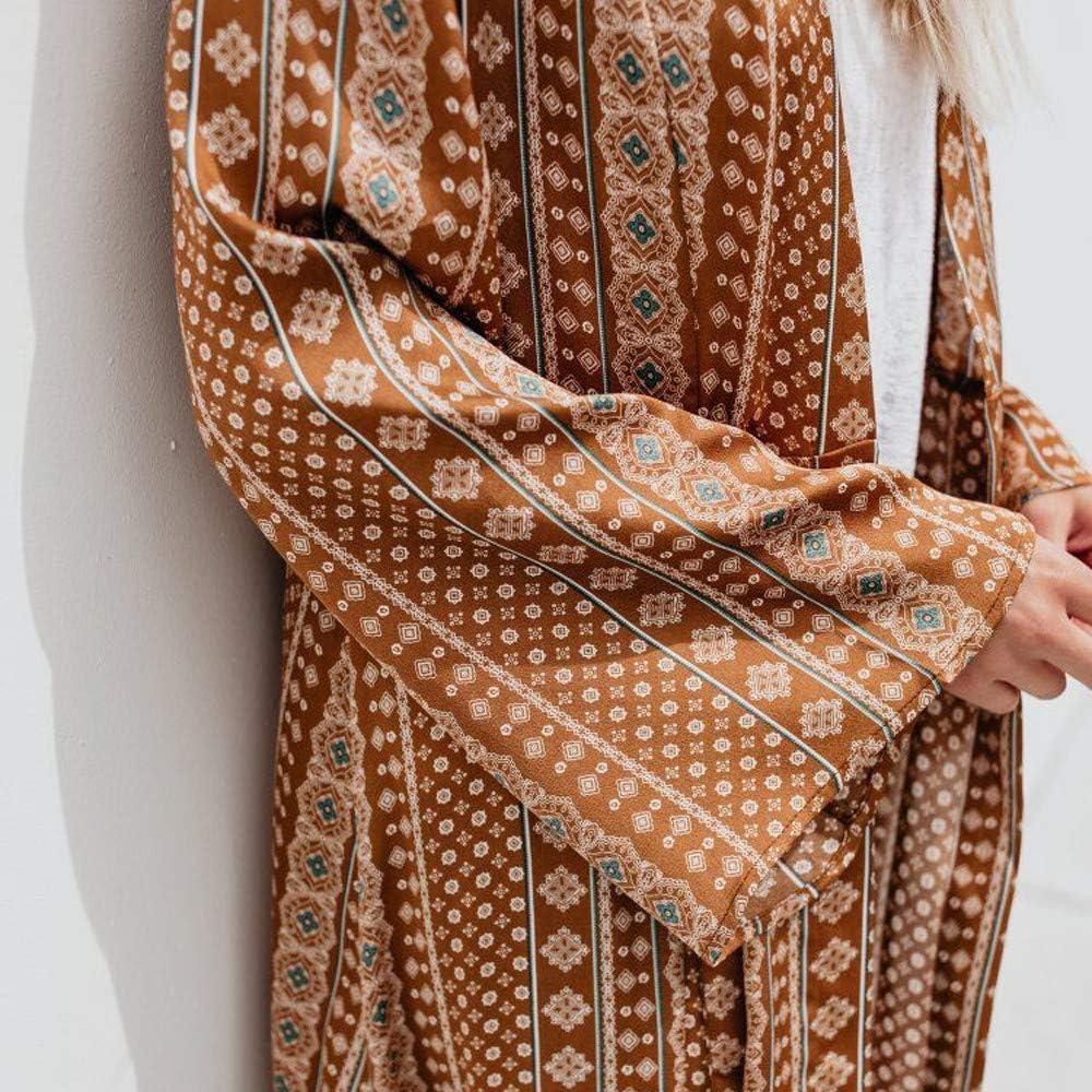 Womens Floral Long Kimono Cardigan Lotus Chiffon Coat Tops Cover Up Beach Smock