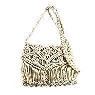 Global Crafts Handmade Recycled Cotton Macrame Shoulder/Cross-body Bag, Cream