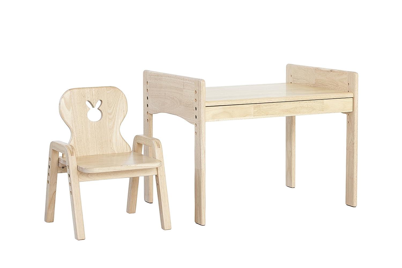 Mitwachsende Kindersitzgruppe, Kindertisch + Stuhl, Motiv    Hase, 100% Massivholz 04e03e