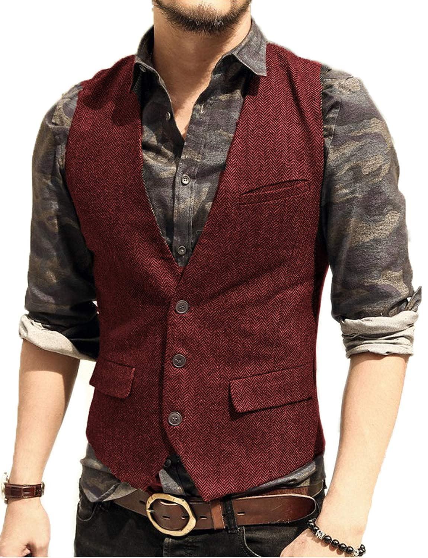 JYDress Mens Slim Fit Herringbone Tweed Suits Vest 3 Button Vest Waistcoat