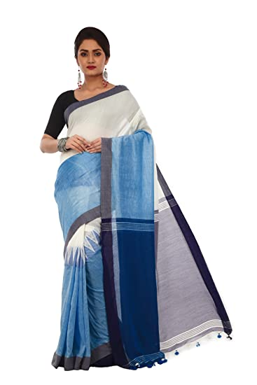 3e8e635ed9 Avik Creations Women's Kanjivaram Khadi Handloom Cotton saree Sky Blue White:  Amazon.in: Clothing & Accessories