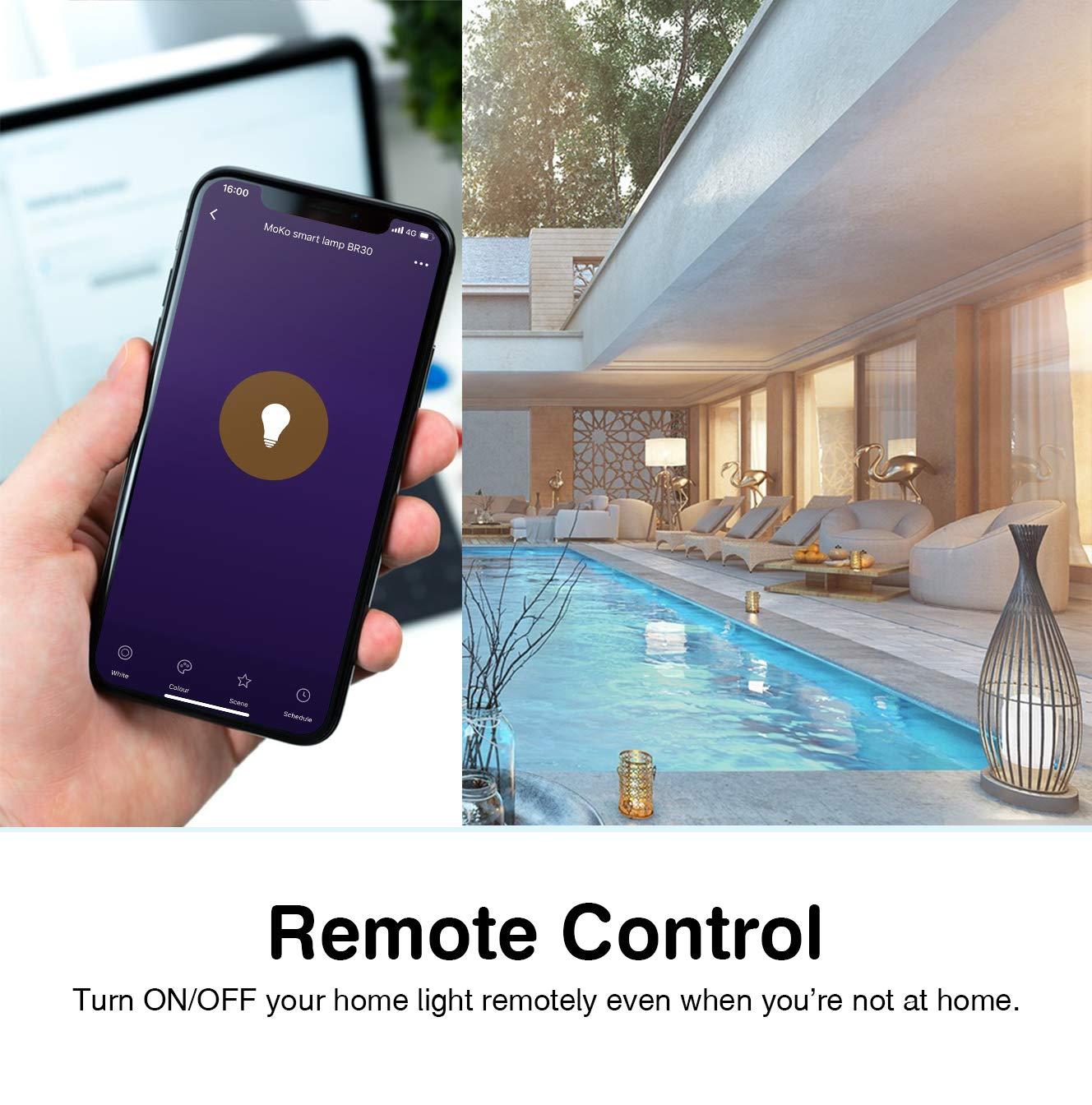 Funzione Timer Intelligente Lampadine LED Controllo Vocale Remoto con Alexa Echo MoKo Lampadina Wifi Smart BR30 E27 2 Pcs 9W Multicolri RGB Luce Calda Dimmerabile Google Home e IFTTT