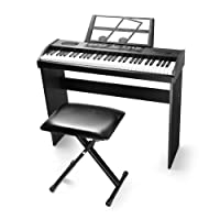 Vangoa VGK6100 61-Key LCD Display Music Electronic Keyboard Piano Bundle with X-Style Bench, Black