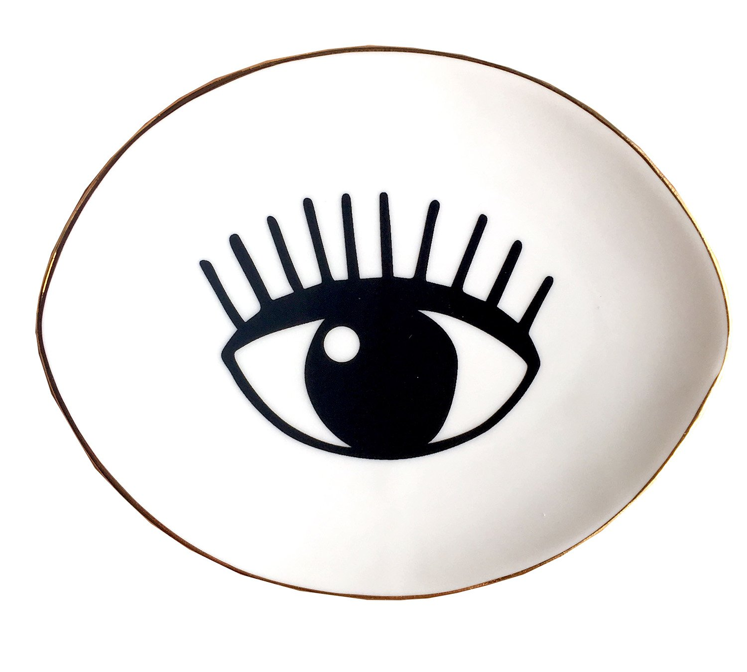 PUDDING CABIN Stripe Gold Jewellery Plate Ring Dish Holder (Eye)