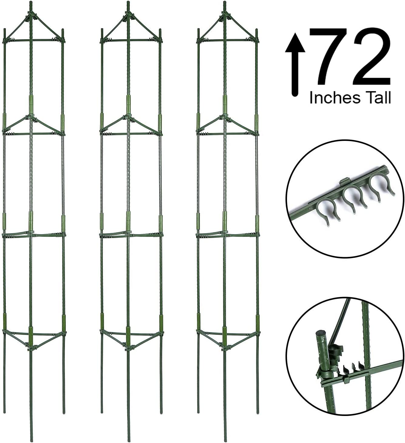 K-Brands Tomato Cage Plant Stakes and Support with Clips 3 Pack – Upto 72 inches Tall