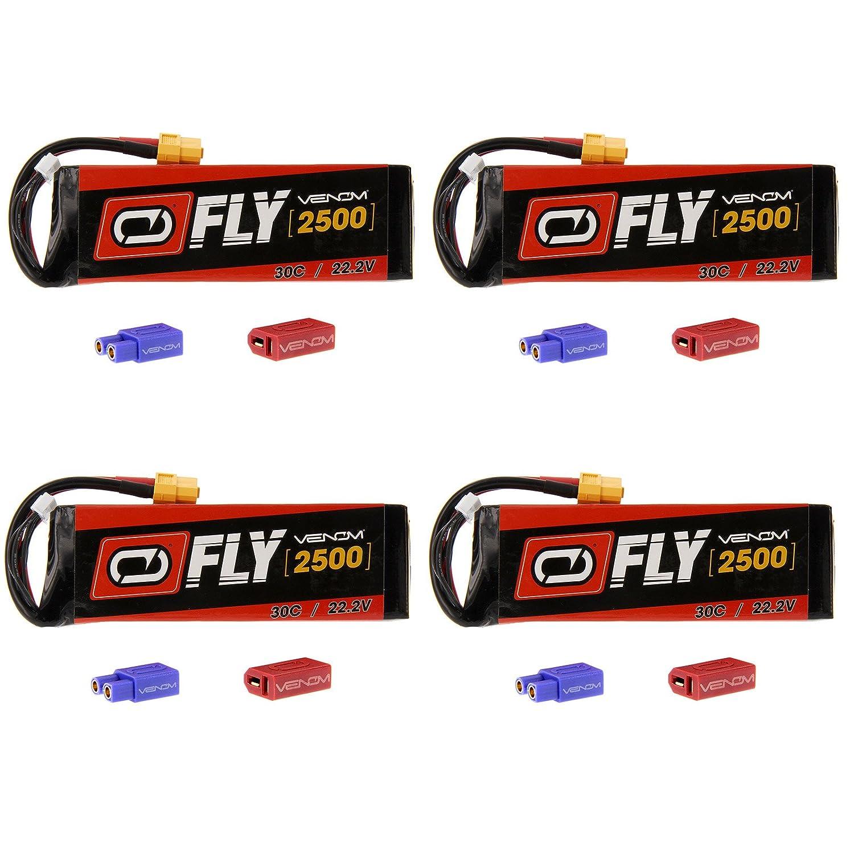 ヴェノムFly 30 C 6s 2500 mAh 22.2 V LiPoバッテリーwith Uni 2.0プラグxt60 / Deans / ec3 ) x4パックCompare to E - flite eflb22006s30   B016ZM2VEE