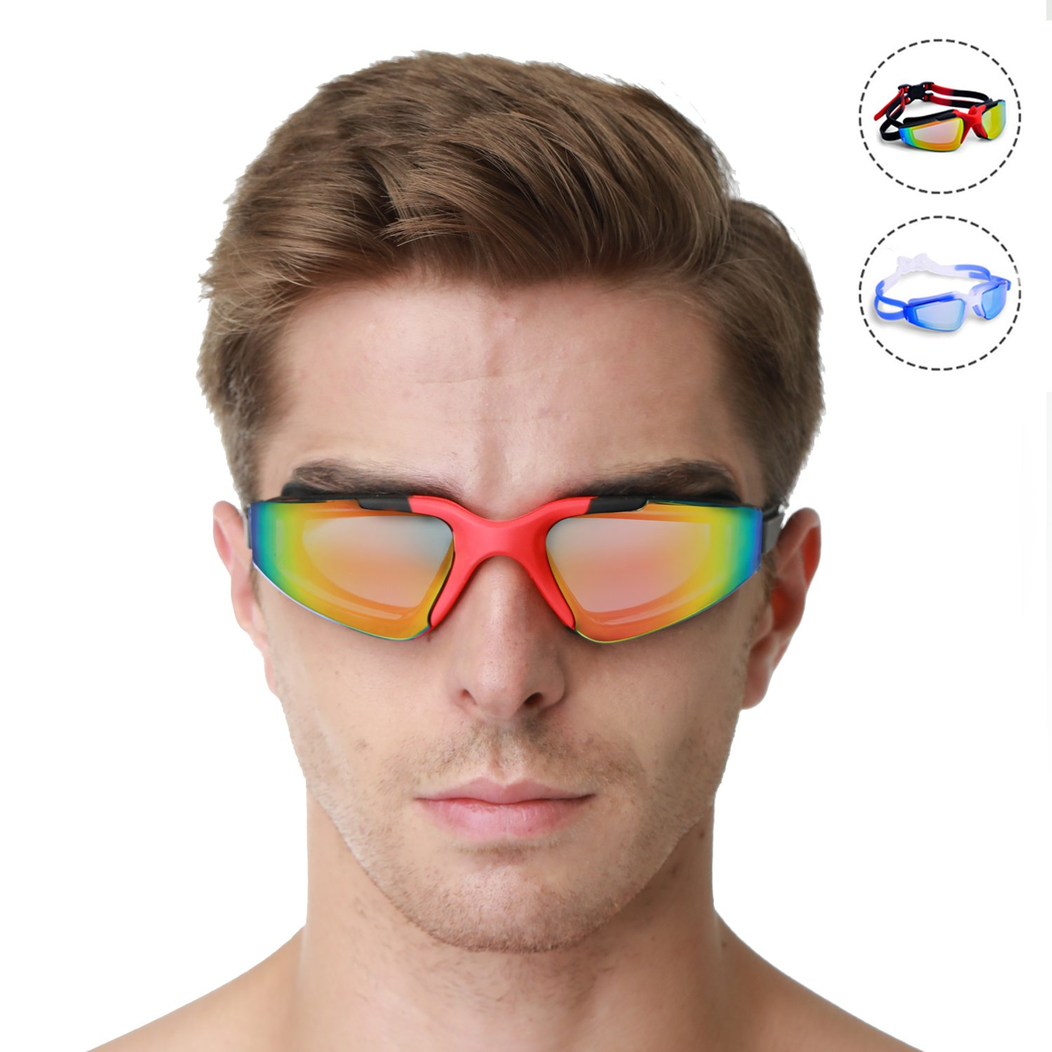 Swimming Goggles attached Ear Nose plug  Anti Fog UV Protection Adult Junior kid