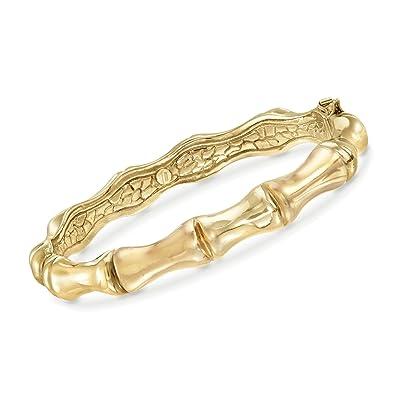 Image result for Ross-Simons Italian 18kt Yellow Gold Over Sterling Silver Bamboo Bangle Bracelet