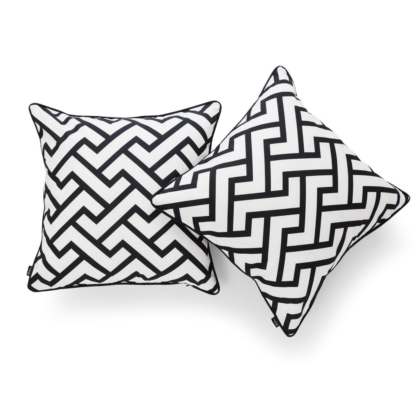 Hofdeco Decorative Throw Pillow Cover INDOOR OUTDOOR WATER RESISTANT Canvas Modern Black City Maze 18''x18'' Set of 2