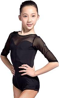 SCGGINTTANZ GD1014 Bambini Latino Latine Moderno Moderna Balletto Ballo da Sala Universale Professionale Body di Design con Filato Traslucido/Pizzo per Le Ragazze GloriaDance