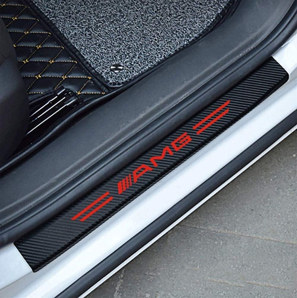 L/&U 4PCs 3D Carbon Fiber Car Decoration Door Entry Guard Door Sill Scuff Plate Stickers for Mercedes-Benz AMG,Red