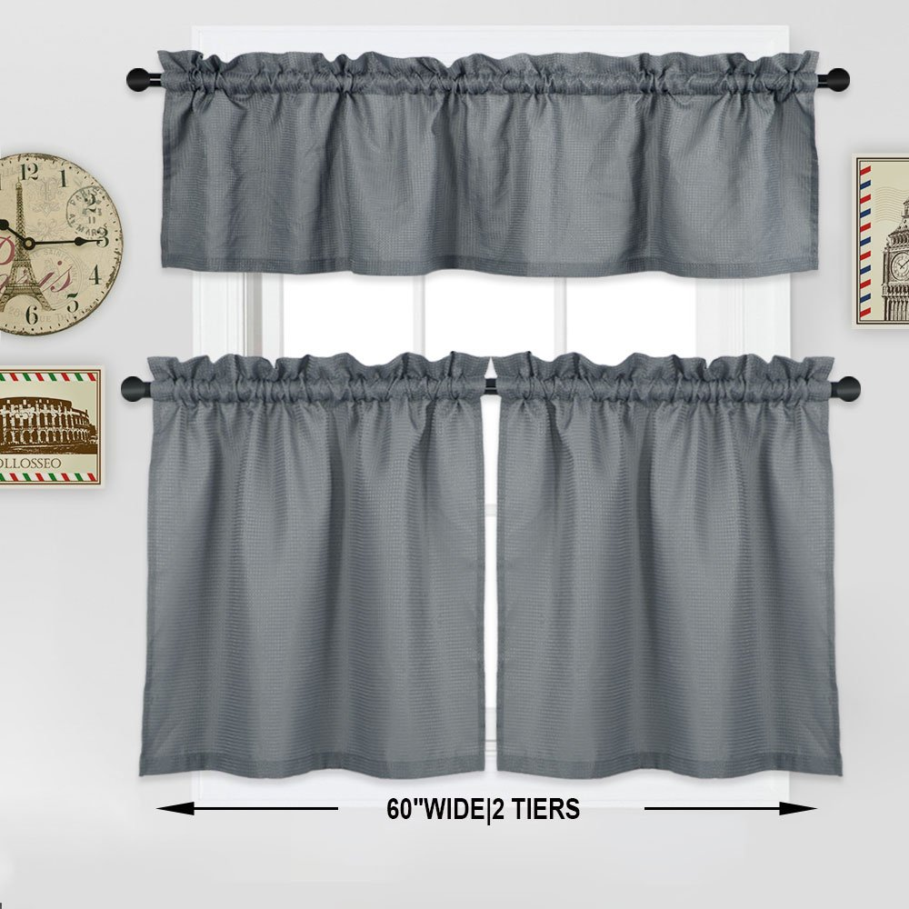 NANAN Tier Curtains,Waffle Woven Textured Bathroom Window Curtains,Tailored Waterproof Short Window Kitchen Cafe Curtains - 30'' x 36'', Grey, Set of 2 by NANAN (Image #7)