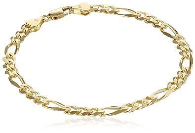 Amazon.com  Men s 18k Yellow Gold 5.65mm Italian Figaro Bracelet, 8 ... 3738d506f3d4